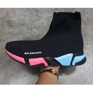 Balenciaga Speed Trainer For Women (Available in Supreme and CDG play collaborations, Black/Blue/Pink and OG Black/White Colorways)