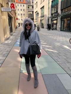 Spring wool hooded cape