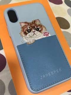 Iphone X 藍色皮貓刺繡套