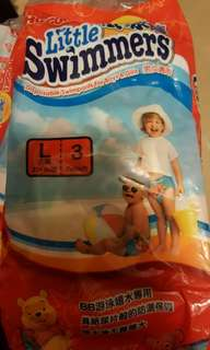 Huggies Little swimmers size L diapers (3 pcs/bag) 100% new (total 5 bags)