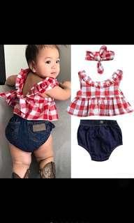 Baby Girl Ruffle Checkered Red Top Peplum Ribbon Bow Denim Shorts Kids Children Newborn Infant [PO]