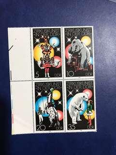 1978 德國馬戲團 雜技 連票 郵票 4全