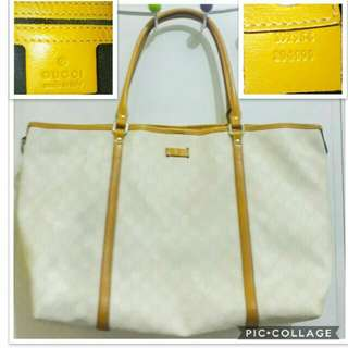 Authentic GUCCI GG Monogram Joy Tote Yellow Large