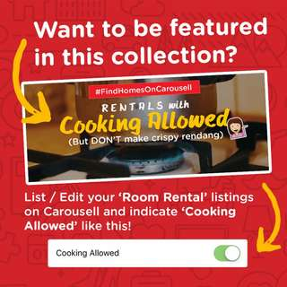 Featuring Room Rentals with cooking allowed! List now to be featured :)