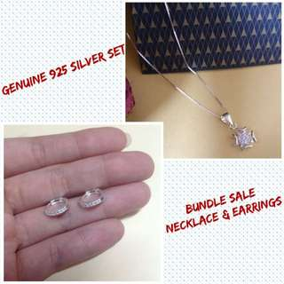 Genuine 925 Italy Silver Jewelry Set Necklace and Earrings