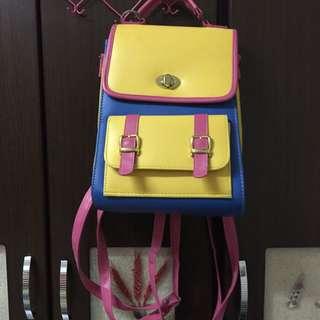 🚚 彩色拼接童趣可愛側後背包