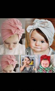 Baby Girl Bow Beanie Ribbon Pink Grey Red Soft Cute Cotton Kids Children Newborn Infant [PO]