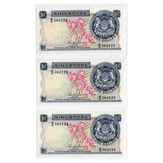 Singapore Orchid Series $1 Banknotes 582122 - 582124