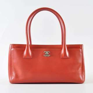 Authentic Chanel Orange Leather Petite Cerf Shopping