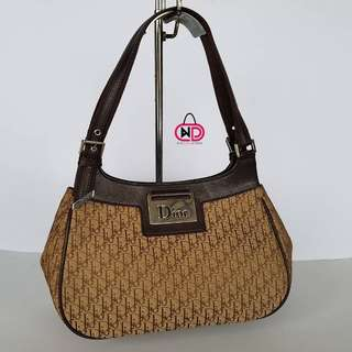 AUTHENTIC CHIRSTIAN DIOR DIORISSIMO MONOGRAM CANVAS SEMI SHOULDER