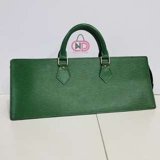 AUTHENTIC LOUIS VUITTON BORNEO GREEN EPI LEATHER SAV TRIANGLE BAG