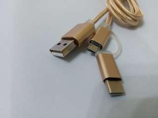Micro Type C 一開二 充電線 - 3色選擇