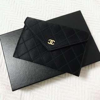 Chanel Vintage 黑色緞面短銀包