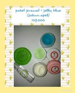 Paket jerawat jelly blue sabun apel