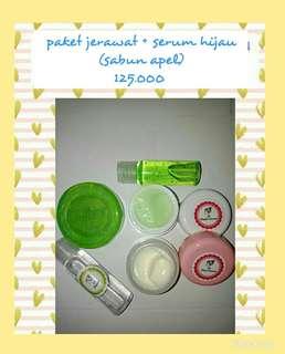 Paket jerawat serum hijau sabun apel