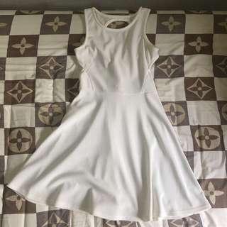 White Crisscross Back Dress
