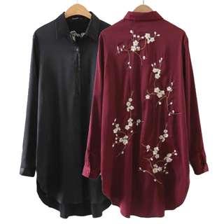 緞面長版後背刺繡工藝上衣襯衫