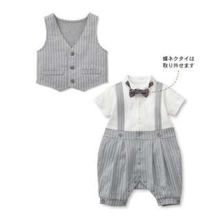 🌟INSTOCK🌟 2pc Grey Suspender Romper Pants and Grey Vest Set Newborn Baby Toddler Boy Children Kids Clothing