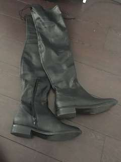 Black leather over the knee boots size 6!