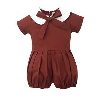 🌟INSTOCK🌟 White Collar Maroon Red Romper Pants Baby Toddler Girl Children Kids Clothing