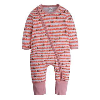 🌟INSTOCK🌟 Peach Pink Scallop Print Zipper PJ Pajama Romper Pants Newborn Baby Toddler Girl Children Kids Clothing