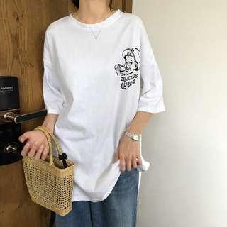 P 全新 女裝 R979535 中長款字母印花短袖T恤寬松顯瘦開叉圓領上衣女