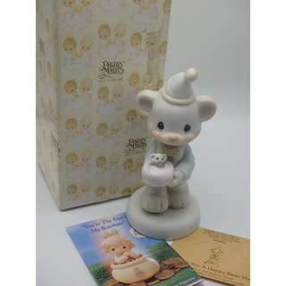 "1994年 Precious Moments ""Wishing You A Happy Bear Hug 520659"" Porcelain Figurine W/Tag"