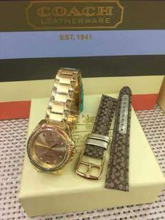 COACH WATCH WITH PAPER BAG, BOX AND TAG