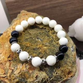 Tridacna + Blue Tiger Eye Bracelet 砗磲+蓝虎眼 手链