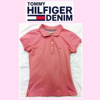🚺《TOMMY HILFIGER DENIM》二手 粉紅色 短袖polo衫