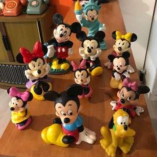 🚚 「早期迪士尼公仔娃娃 11件組」 早期 古董 復古 懷舊 稀少 有緣 大同寶寶 黑松 沙士 鐵件 40年 50年