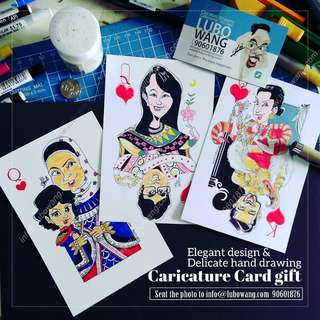 🚚 Hand draw card couple Caricature gift full color