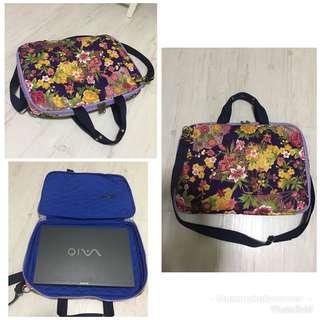 Japan flowery laptop sling bag
