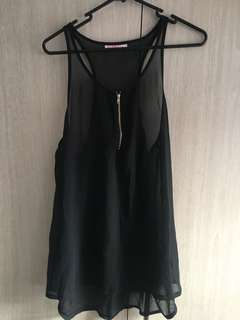 Supre size M black see through singlet top