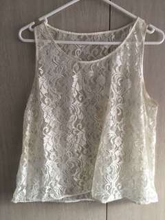 American apparel white lace singlet top