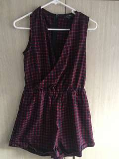 Zalora size small checkered jumpsuit/playsuit -red and navy blue