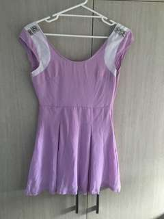 Lucy in the sky size 8 purple cap shoulder backless mini dress