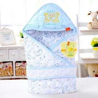 Baby Receiving Blanket with Belt - BLUE