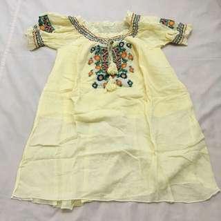 Gypsy Bohemian Pastel Yellow Top Blouse