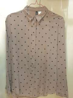 H&M long-sleeve color old rose with polka dots