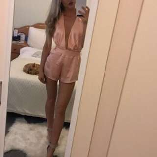 Pink satin jumpsuit