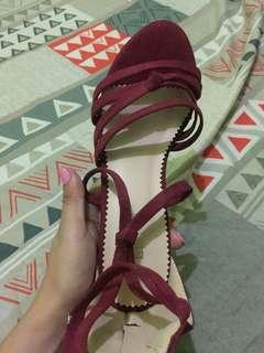 Red velvet sandals with heels