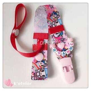 Personalised Pacifier Clip with Pacifier Cover Strap- Tokidoki inspired