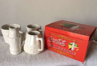 Very Rare 4 cup ceramic Coca Cola bottle set