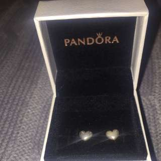 PANDORA Heart Shaped Silver Studs