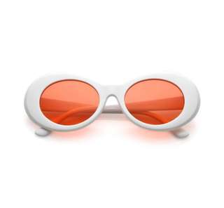 Red lens oval white retro sunglasses