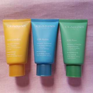 New In-Clarins SOS Comfort Nourishing Balm Mask/ SOS Hydra Refreshing Hydration Mask