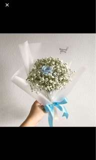 Preserved Blue Rose with Baby Breath Birthday Bouquet / Graduation Bouquet