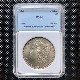 1896 MS64 美國 壹元銀幣 大頭妺 貿易幣 UNC