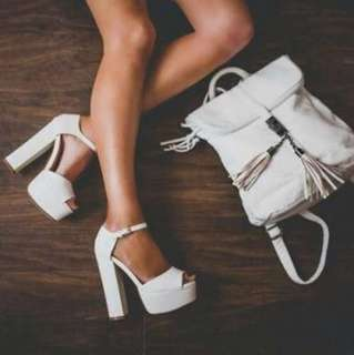 White heels (boohoo)